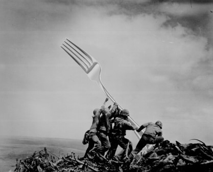 Raising the fork (Iwo Jima)